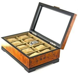 Bombay Marlborough - burl wood & glass watch box